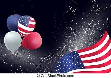 US Patriotic balloons and flag specially for the Fourth of July. Memorial Day. Martin Luther King Day.