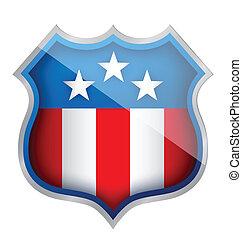 US patriotic security shield illustration design over white