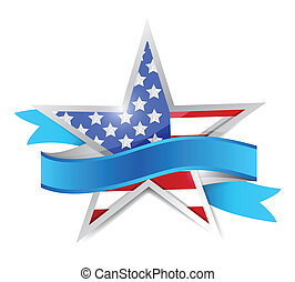 us patriotic star and ribbon. illustration design