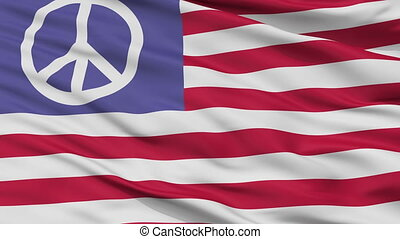 Us Peace Flag Closeup Seamless Loop - Us Peace Flag, Closeup...