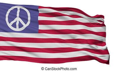 Us Peace Flag Isolated Seamless Loop