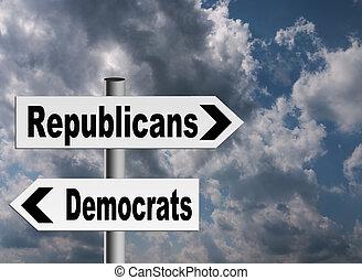 US politics - Republicans Democrats - Concept. Different...