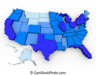U.S. Population - Map of Most Populated States - A 3d map of...