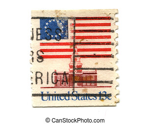 US postage stamp on white background 13c