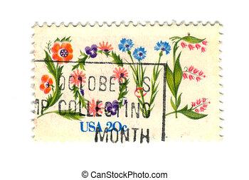 US postage stamp on white background 20c