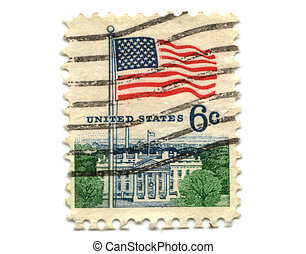 US postage stamp on white background 6c