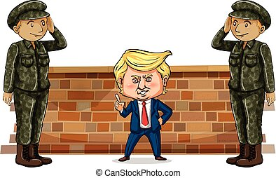 US president Trump and two soldiers illustration