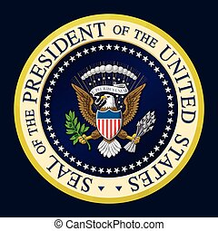 Highly detailed, colored vector illustration of the official Seal of the President of the United States. Two layers of Shading for depth.