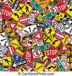 US Road Signs Background 3D Illustration