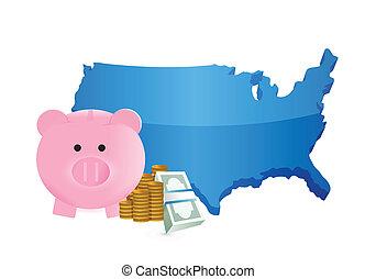 us savings illustration design