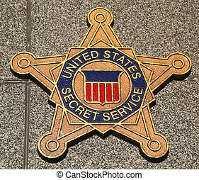 US Secret Service emblem on fallen officers memorial in...