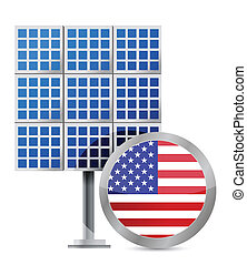 US solar panel illustration design over white