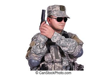 US soldier with gun