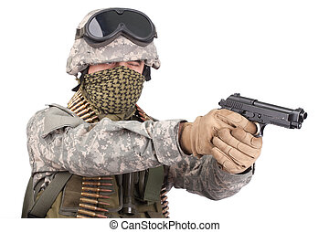 US soldier with m92 handgun on white background