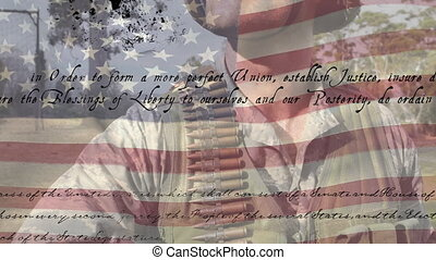 Animation of U.S. flag waving with U.S. Constitution text rolling over Caucasian soldier holding a gun. United States of America flag and holiday concept digital composition
