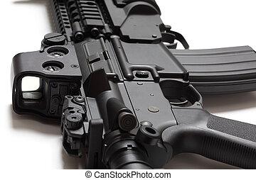 US Spec Ops M4A1 assault carbine close-up on white...