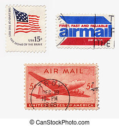 Us Stamps - A collection of vintage US stamps: airmail,old...