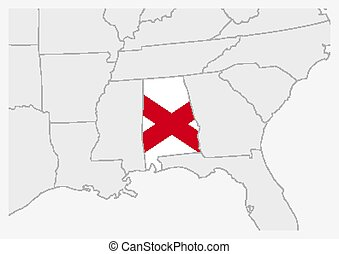 US state Alabama map highlighted in Alabama flag colors, gray map with neighboring usa states.