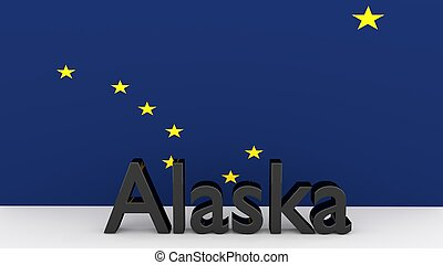 US state Alaska, metal name in front of flag