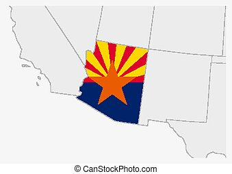 US state Arizona map highlighted in Arizona flag colors
