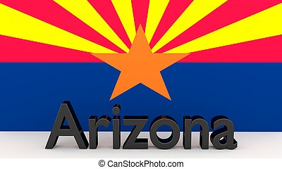 US state Arizona, metal name in front of flag