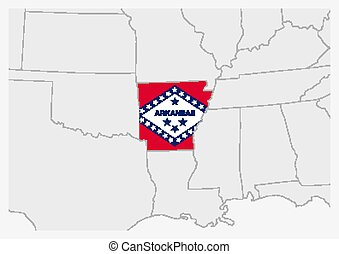 US state Arkansas map highlighted in Arkansas flag colors