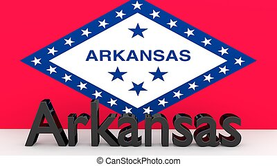 US state Arkansas, metal name in front of flag