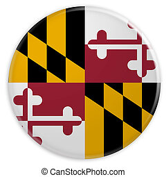US State Button: Maryland Flag Badge 3d illustration on white background