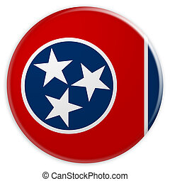 US State Button: Tennessee Flag Badge 3d illustration on white background