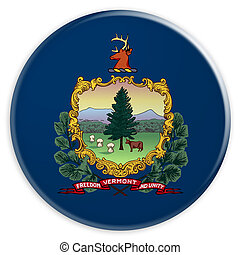 US State Button: Vermont Flag Badge 3d illustration on white background