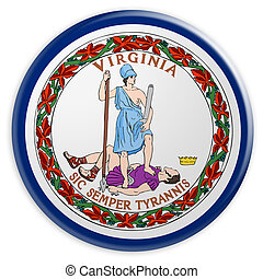 US State Button: Virginia Flag Badge 3d illustration on white background
