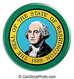 US State Button: Washington Flag Badge 3d illustration on white background