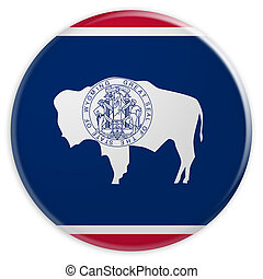 US State Button: Wyoming Flag Badge 3d illustration on white background