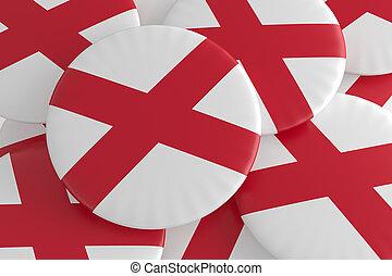 US State Buttons: Pile of Alabama Flag Badges 3d illustration