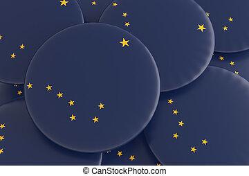 US State Buttons: Pile of Alaska Flag Badges 3d illustration