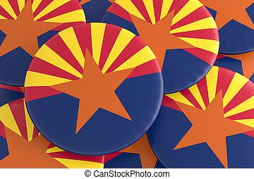 US State Buttons: Pile of Arizona Flag Badges 3d illustration