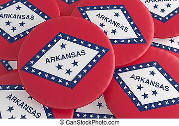 US State Buttons: Pile of Arkansas Flag Badges 3d illustration