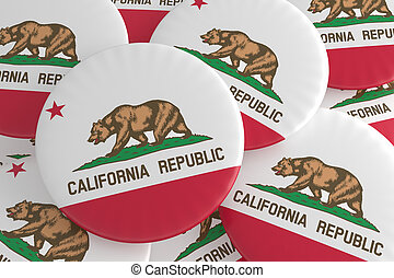 US State Buttons: Pile of California Flag Badges 3d illustration