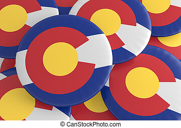 US State Buttons: Pile of Colorado Flag Badges 3d illustration
