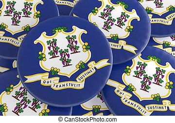 US State Buttons: Pile of Connecticut Flag Badges 3d illustration