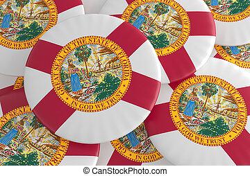 US State Buttons: Pile of Florida Flag Badges 3d illustration
