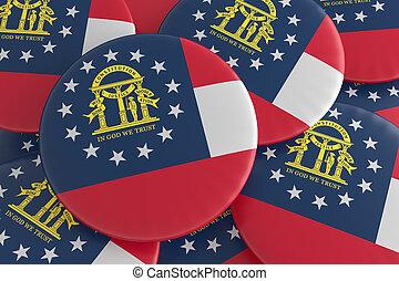 US State Buttons: Pile of Georgia Flag Badges 3d illustration