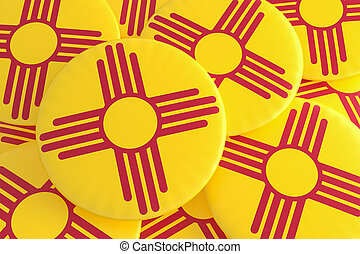 US State Buttons: Pile of New Mexico Flag Badges 3d illustration