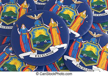 US State Buttons: Pile of New York Flag Badges 3d illustration