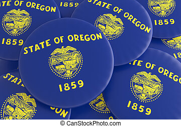 US State Buttons: Pile of Oregon Flag Badges 3d illustration