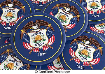 US State Buttons: Pile of Utah Flag Badges 3d illustration