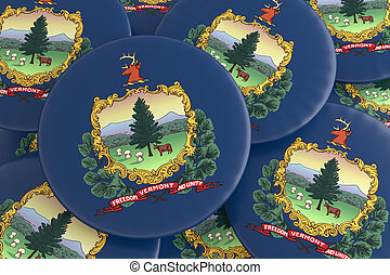 US State Buttons: Pile of Vermont Flag Badges 3d illustration
