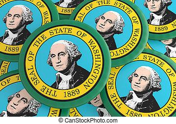 US State Buttons: Pile of Washington Flag Badges 3d illustration