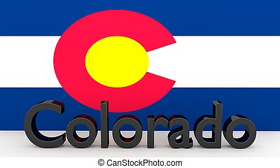 US state Colorado, metal name in front of flag