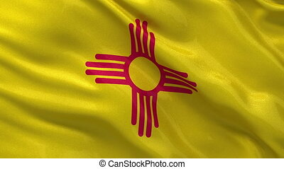 US state flag of New Mexico gently waving in the wind. Seamless loop with high quality fabric material.